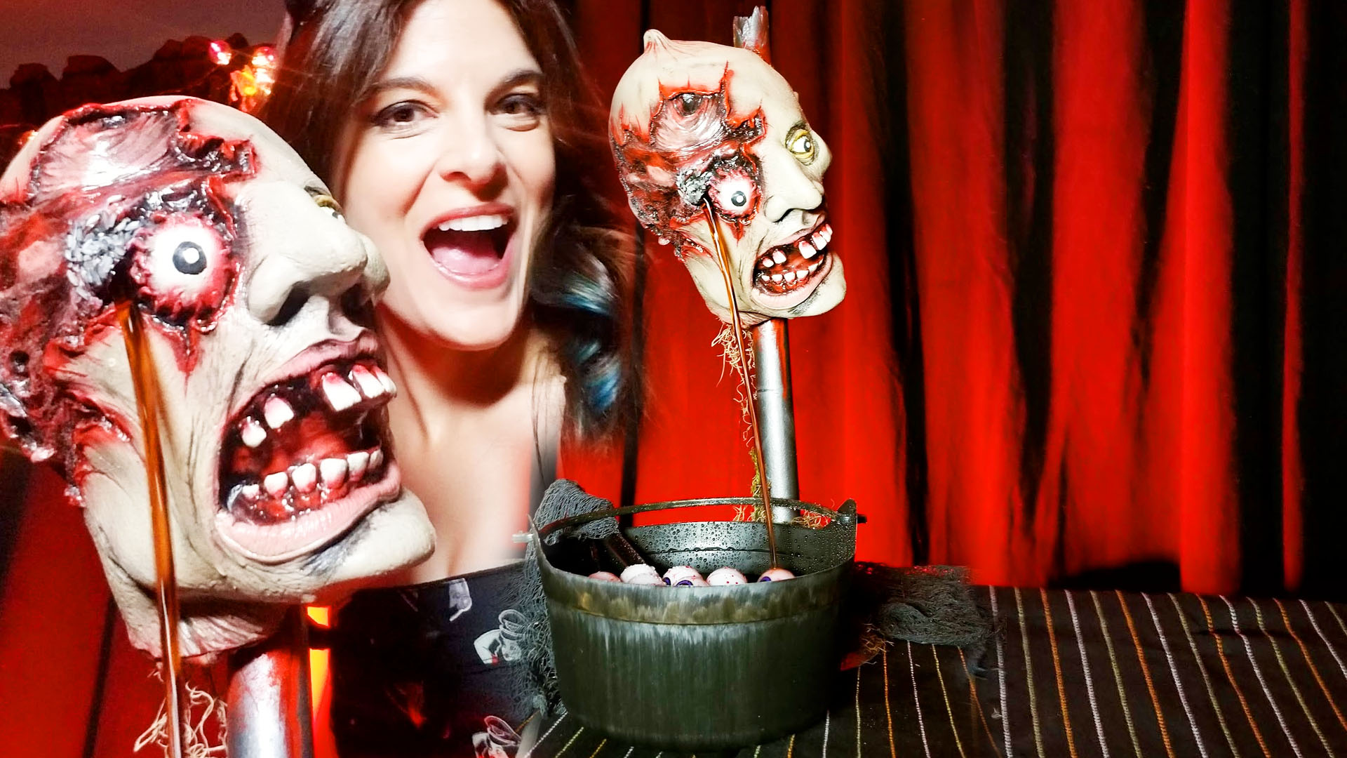 Zombie Head Drink Fountain | 360 Video | Live Stream